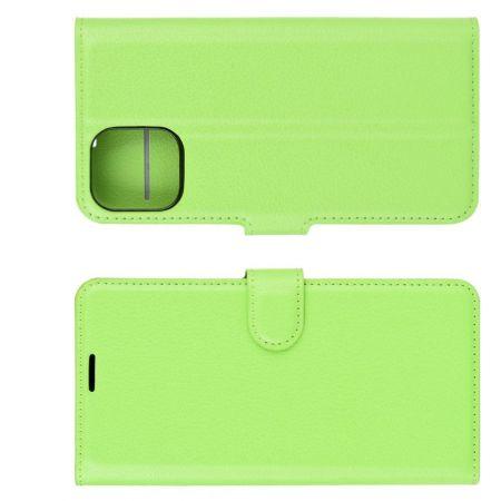 Боковая Чехол Книжка Кошелек с Футляром для Карт и Застежкой Магнитом для iPhone 12 mini Зеленый