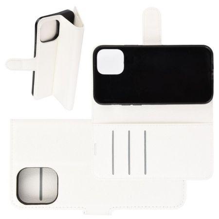 Боковая Чехол Книжка Кошелек с Футляром для Карт и Застежкой Магнитом для iPhone 12 Pro Max Белый