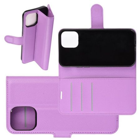 Боковая Чехол Книжка Кошелек с Футляром для Карт и Застежкой Магнитом для iPhone 12 Pro Max Фиолетовый
