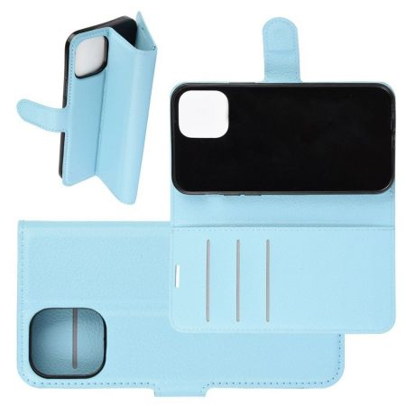 Боковая Чехол Книжка Кошелек с Футляром для Карт и Застежкой Магнитом для iPhone 12 Pro Max Голубой