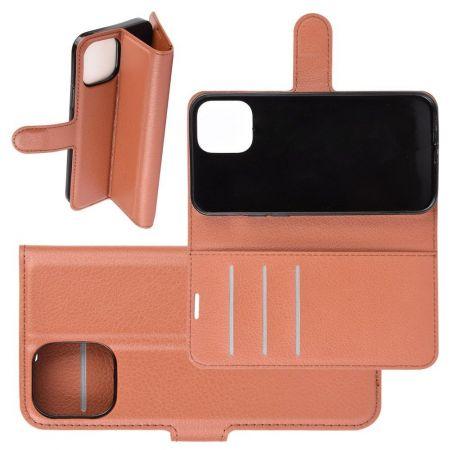 Боковая Чехол Книжка Кошелек с Футляром для Карт и Застежкой Магнитом для iPhone 12 Pro Max Коричневый