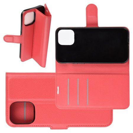 Боковая Чехол Книжка Кошелек с Футляром для Карт и Застежкой Магнитом для iPhone 12 Pro Max Красный