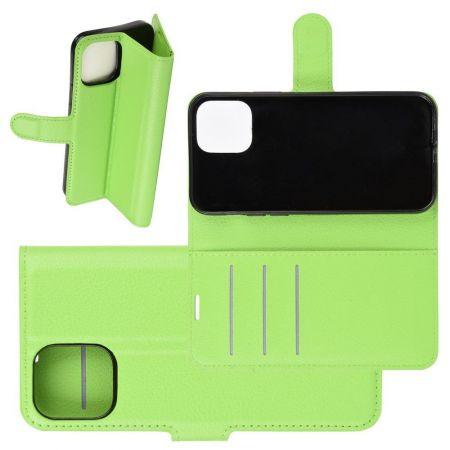 Боковая Чехол Книжка Кошелек с Футляром для Карт и Застежкой Магнитом для iPhone 12 Pro Max Зеленый