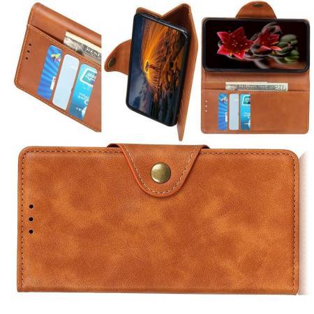 Боковая Чехол Книжка Кошелек с Футляром для Карт и Застежкой Магнитом для LG G8 ThinQ Коричневый