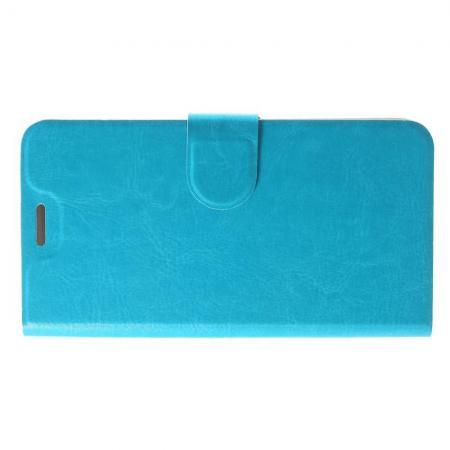 Боковая Чехол Книжка Кошелек с Футляром для Карт и Застежкой Магнитом для LG K11 Голубой