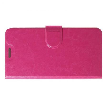 Боковая Чехол Книжка Кошелек с Футляром для Карт и Застежкой Магнитом для LG K11 Розовый
