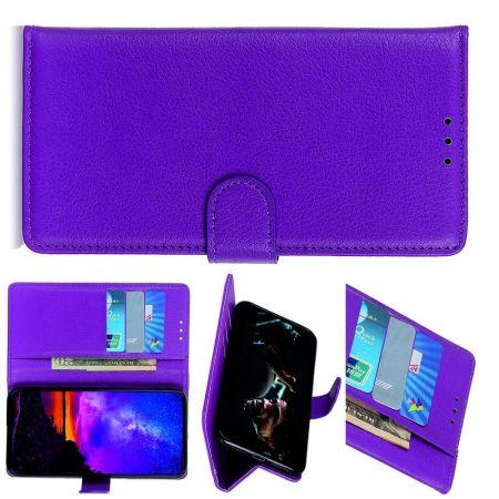 Боковая Чехол Книжка Кошелек с Футляром для Карт и Застежкой Магнитом для LG K30 2019 Фиолетовый