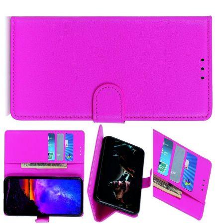 Боковая Чехол Книжка Кошелек с Футляром для Карт и Застежкой Магнитом для LG K30 2019 Розовый