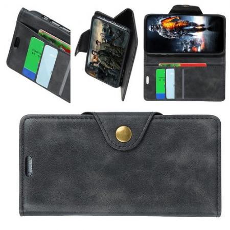 Боковая Чехол Книжка Кошелек с Футляром для Карт и Застежкой Магнитом для LG V40 ThinQ Черный