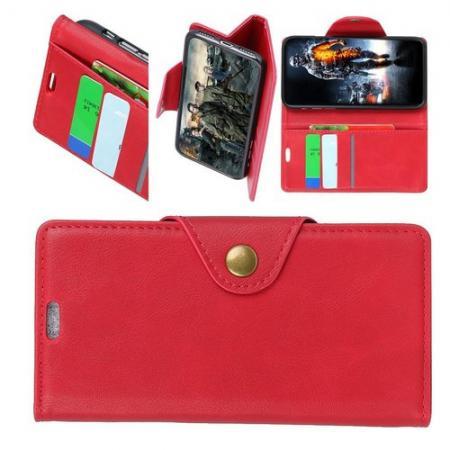 Боковая Чехол Книжка Кошелек с Футляром для Карт и Застежкой Магнитом для LG V40 ThinQ Красный