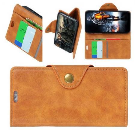 Боковая Чехол Книжка Кошелек с Футляром для Карт и Застежкой Магнитом для LG V40 ThinQ Коричневый