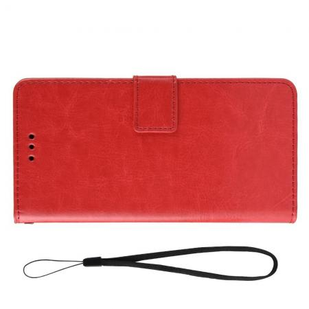 Боковая Чехол Книжка Кошелек с Футляром для Карт и Застежкой Магнитом для Meizu Note 9 Красный
