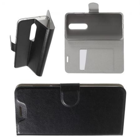 Боковая Чехол Книжка Кошелек с Футляром для Карт и Застежкой Магнитом для Nokia 6.1 Plus Черный