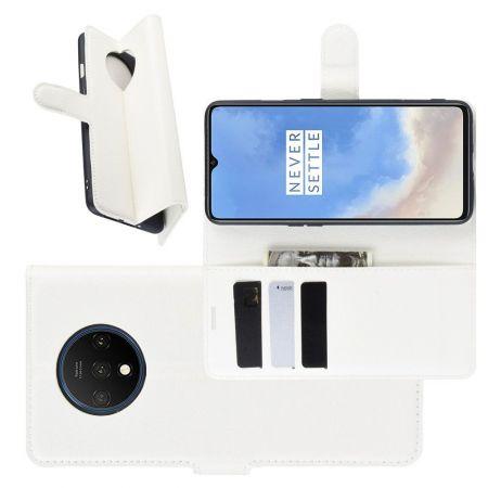 Боковая Чехол Книжка Кошелек с Футляром для Карт и Застежкой Магнитом для OnePlus 7T Белый