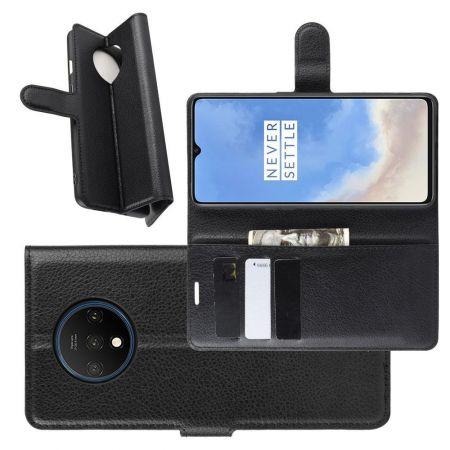 Боковая Чехол Книжка Кошелек с Футляром для Карт и Застежкой Магнитом для OnePlus 7T Черный