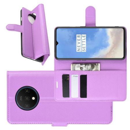 Боковая Чехол Книжка Кошелек с Футляром для Карт и Застежкой Магнитом для OnePlus 7T Фиолетовый
