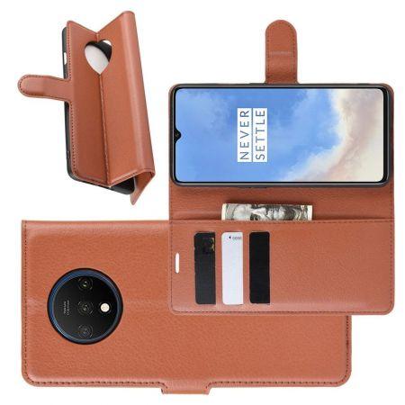 Боковая Чехол Книжка Кошелек с Футляром для Карт и Застежкой Магнитом для OnePlus 7T Коричневый