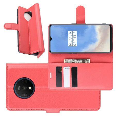 Боковая Чехол Книжка Кошелек с Футляром для Карт и Застежкой Магнитом для OnePlus 7T Красный
