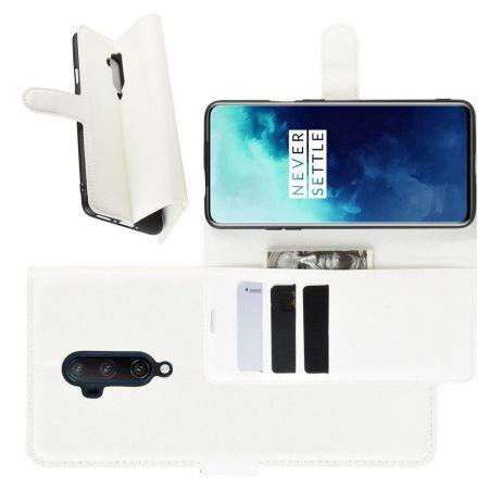 Боковая Чехол Книжка Кошелек с Футляром для Карт и Застежкой Магнитом для OnePlus 7T Pro Белый