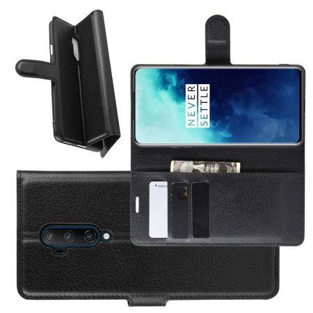 Боковая Чехол Книжка Кошелек с Футляром для Карт и Застежкой Магнитом для OnePlus 7T Pro Черный