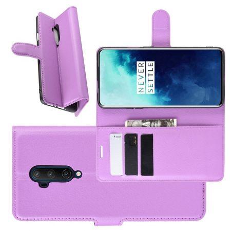 Боковая Чехол Книжка Кошелек с Футляром для Карт и Застежкой Магнитом для OnePlus 7T Pro Фиолетовый