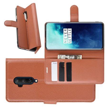 Боковая Чехол Книжка Кошелек с Футляром для Карт и Застежкой Магнитом для OnePlus 7T Pro Коричневый
