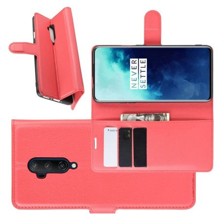Боковая Чехол Книжка Кошелек с Футляром для Карт и Застежкой Магнитом для OnePlus 7T Pro Красный