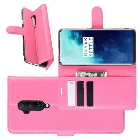 Боковая Чехол Книжка Кошелек с Футляром для Карт и Застежкой Магнитом для OnePlus 7T Pro Розовый