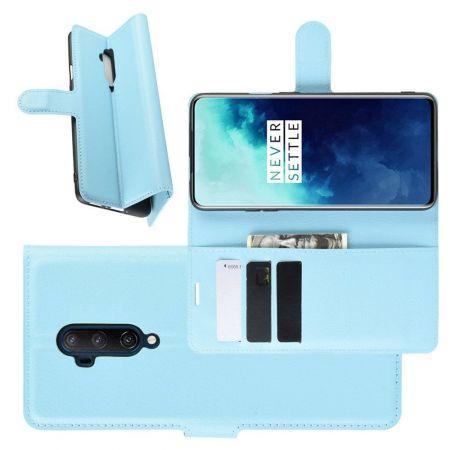 Боковая Чехол Книжка Кошелек с Футляром для Карт и Застежкой Магнитом для OnePlus 7T Pro Синий