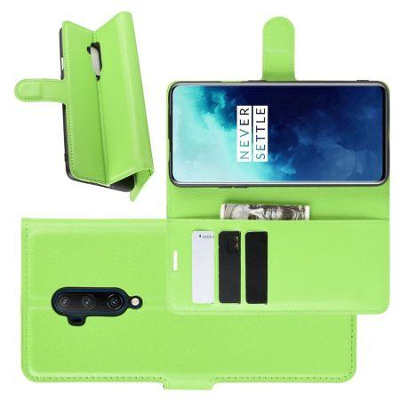 Боковая Чехол Книжка Кошелек с Футляром для Карт и Застежкой Магнитом для OnePlus 7T Pro Зеленый