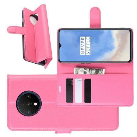 Боковая Чехол Книжка Кошелек с Футляром для Карт и Застежкой Магнитом для OnePlus 7T Розовый