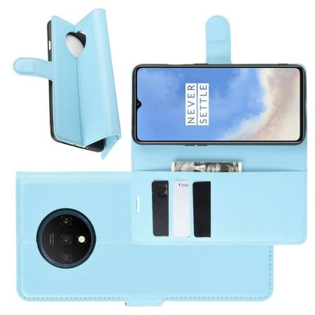 Боковая Чехол Книжка Кошелек с Футляром для Карт и Застежкой Магнитом для OnePlus 7T Синий