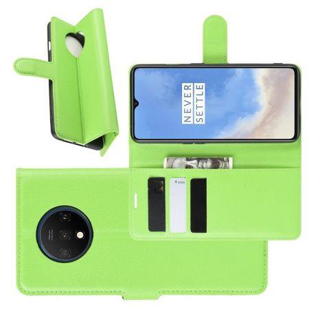 Боковая Чехол Книжка Кошелек с Футляром для Карт и Застежкой Магнитом для OnePlus 7T Зеленый