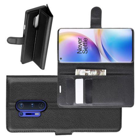 Боковая Чехол Книжка Кошелек с Футляром для Карт и Застежкой Магнитом для OnePlus 8 Pro Черный