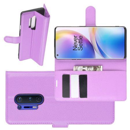 Боковая Чехол Книжка Кошелек с Футляром для Карт и Застежкой Магнитом для OnePlus 8 Pro Фиолетовый