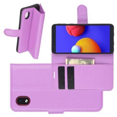 Боковая Чехол Книжка Кошелек с Футляром для Карт и Застежкой Магнитом для Samsung Galaxy A01 Core Фиолетовый