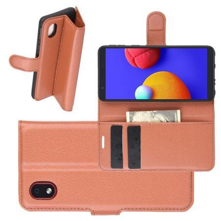 Боковая Чехол Книжка Кошелек с Футляром для Карт и Застежкой Магнитом для Samsung Galaxy A01 Core Коричневый