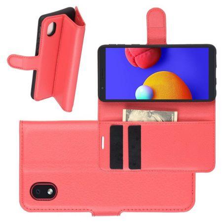 Боковая Чехол Книжка Кошелек с Футляром для Карт и Застежкой Магнитом для Samsung Galaxy A01 Core Красный