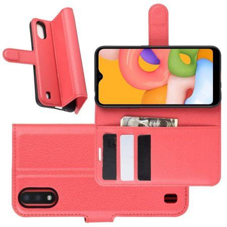 Боковая Чехол Книжка Кошелек с Футляром для Карт и Застежкой Магнитом для Samsung Galaxy A01 Красный