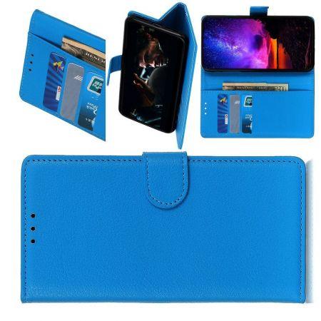 Боковая Чехол Книжка Кошелек с Футляром для Карт и Застежкой Магнитом для Samsung Galaxy A01 Синий