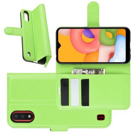 Боковая Чехол Книжка Кошелек с Футляром для Карт и Застежкой Магнитом для Samsung Galaxy A01 Зеленый