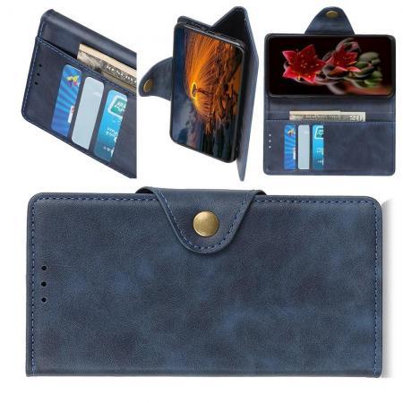 Боковая Чехол Книжка Кошелек с Футляром для Карт и Застежкой Магнитом для Samsung Galaxy A10 Синий