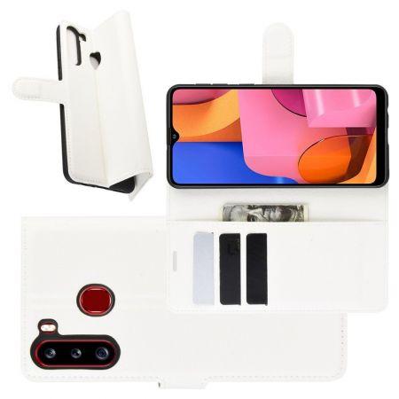 Боковая Чехол Книжка Кошелек с Футляром для Карт и Застежкой Магнитом для Samsung Galaxy A21 Белый