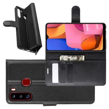 Боковая Чехол Книжка Кошелек с Футляром для Карт и Застежкой Магнитом для Samsung Galaxy A21 Черный