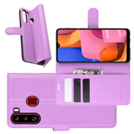 Боковая Чехол Книжка Кошелек с Футляром для Карт и Застежкой Магнитом для Samsung Galaxy A21 Фиолетовый