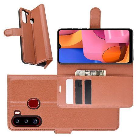 Боковая Чехол Книжка Кошелек с Футляром для Карт и Застежкой Магнитом для Samsung Galaxy A21 Коричневый