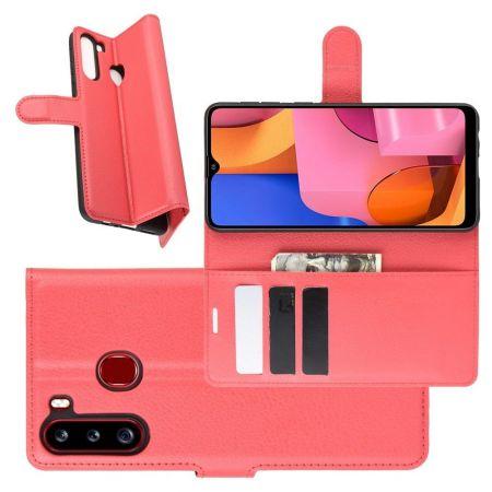 Боковая Чехол Книжка Кошелек с Футляром для Карт и Застежкой Магнитом для Samsung Galaxy A21 Красный