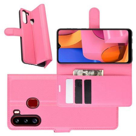 Боковая Чехол Книжка Кошелек с Футляром для Карт и Застежкой Магнитом для Samsung Galaxy A21 Розовый