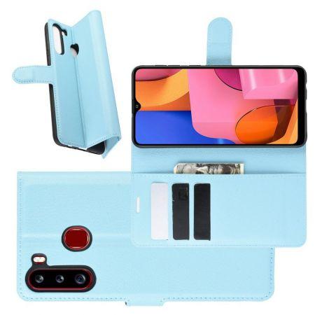 Боковая Чехол Книжка Кошелек с Футляром для Карт и Застежкой Магнитом для Samsung Galaxy A21 Синий