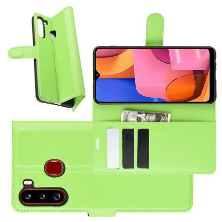 Боковая Чехол Книжка Кошелек с Футляром для Карт и Застежкой Магнитом для Samsung Galaxy A21 Зеленый
